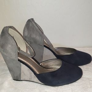 Cato Suede style Wedges w ankle strap